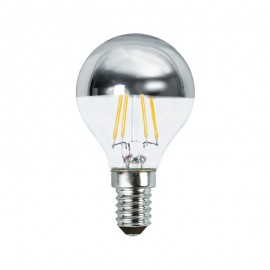 Spherique filament LED argent 2W E14